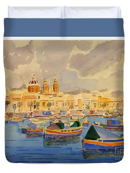 Boats At Marsaxlokk Duvet Cover