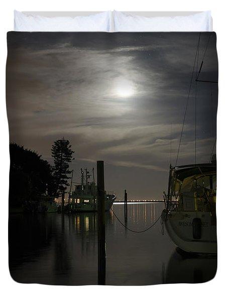 Boats At Moon Rise Duvet Cover
