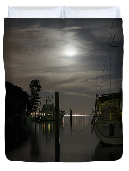 Boats At Moon Rise Duvet Cover