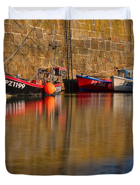 Boats At Mousehole Duvet Cover