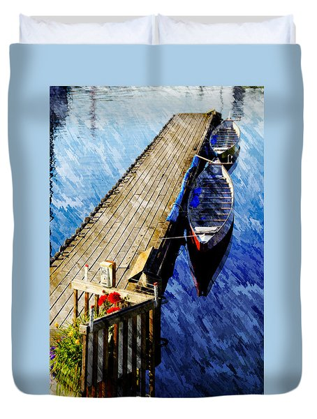 Boats At Rest Duvet Cover by Bill Howard