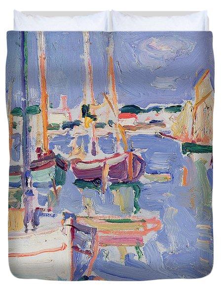 Boats At Royan Duvet Cover by Samuel John Peploe