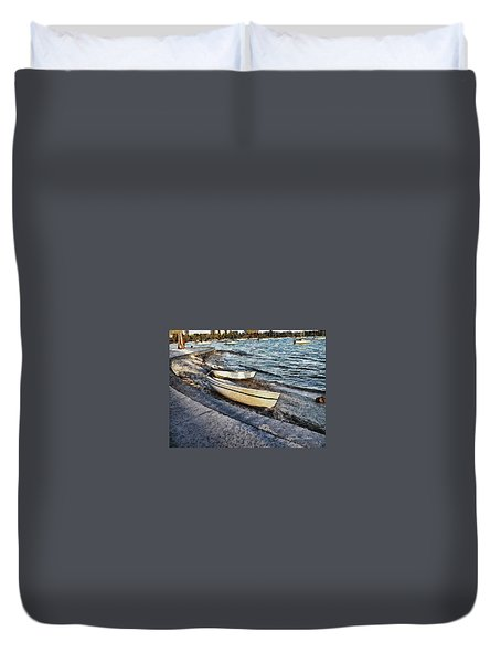 Boats At The Bay Duvet Cover