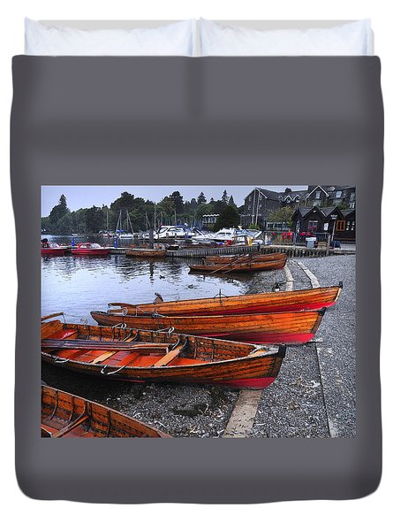 Boats At Windermere Duvet Cover