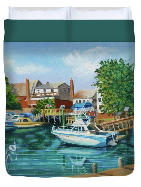 Boats Behind Cross Bay Blvd. Duvet Cover