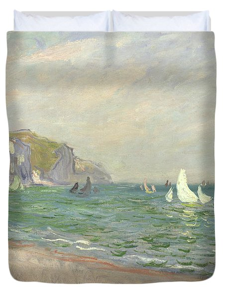 Boats Below The Cliffs At Pourville Duvet Cover