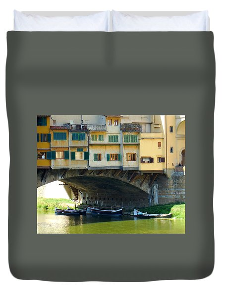 Boats Beneath The Ponte Vecchio Duvet Cover