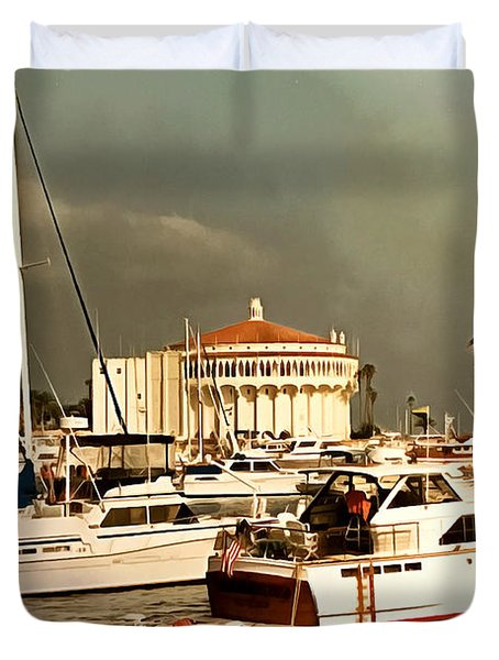 Duvet Cover featuring the photograph Boats Catalina Island California by Floyd Snyder
