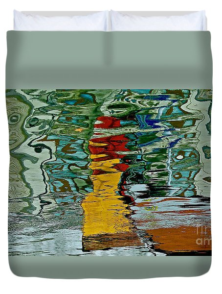 Boats In A Reflection Duvet Cover