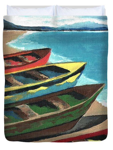 Boats In A Row Duvet Cover by Kathleen Sartoris