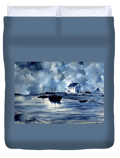Boats In Blue Duvet Cover by Michael Vigliotti
