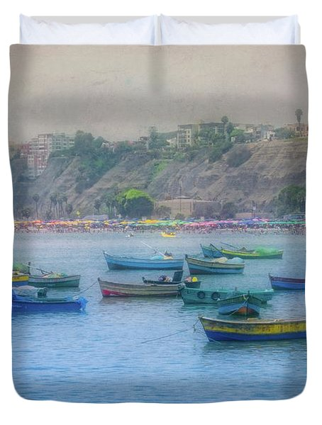 Duvet Cover featuring the photograph Boats In Blue Twilight - Lima, Peru by Mary Machare