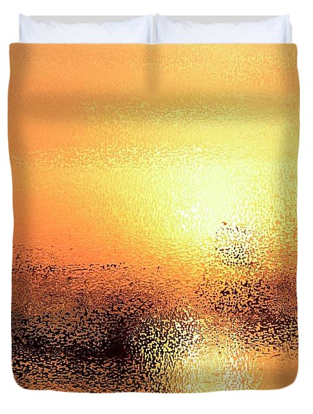 Boats In Gold Duvet Cover