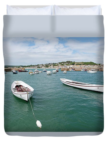 Boats In Habour Duvet Cover