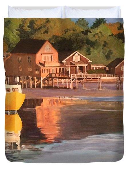 Boats In Kennebunkport Harbor Duvet Cover