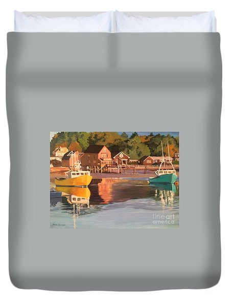 Boats In Kennebunkport Harbor Duvet Cover