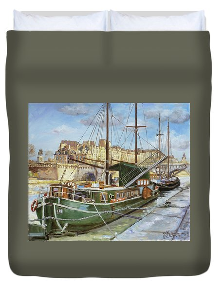 Boats In Paris, Pont Neuf Duvet Cover