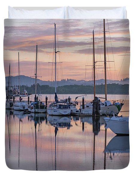 Boats In Pastel Duvet Cover