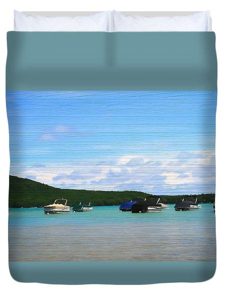 Boats In Sleeping Bear Bay Wood Texture Duvet Cover by Dan Sproul
