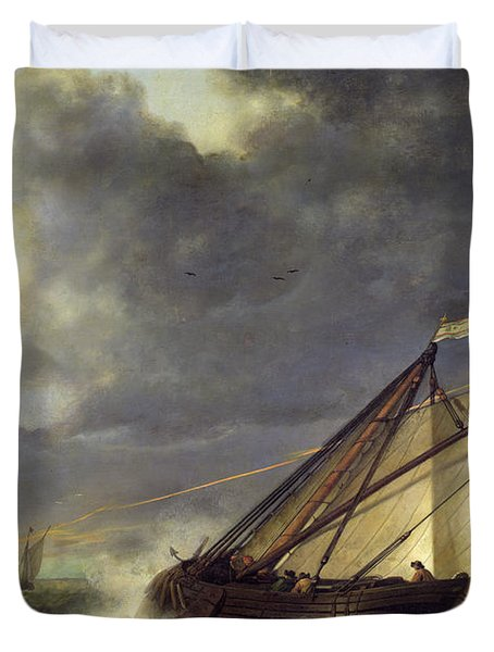 Boats In The Estuary Of Holland Diep In A Storm Duvet Cover