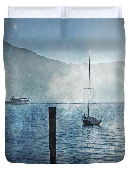 Boats In The Fog Duvet Cover by Joana Kruse