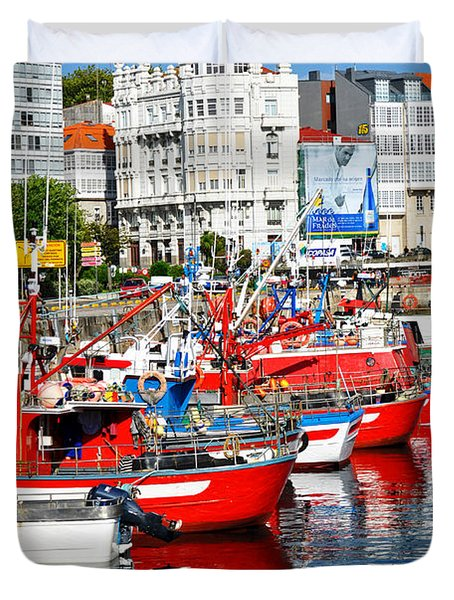 Boats In The Harbor - La Coruna Duvet Cover by Mary Machare