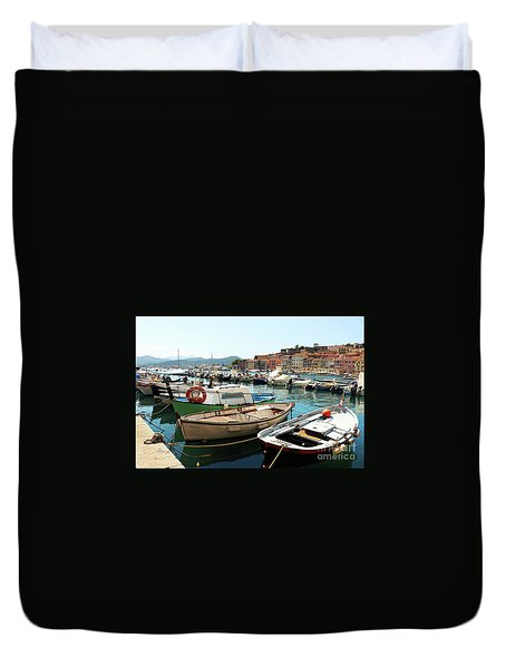 Duvet Cover featuring the photograph Boats In The Harbour by MGL Meiklejohn Graphics Licensing