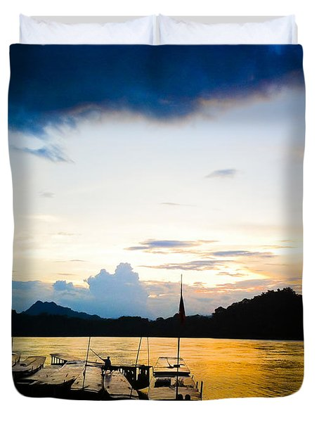Boats In The Mekong River, Luang Prabang At Sunset Duvet Cover