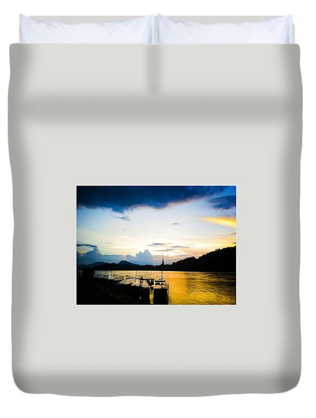 Boats In The Mekong River, Luang Prabang At Sunset Duvet Cover