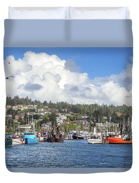Boats In Yaquina Bay Duvet Cover by James Eddy