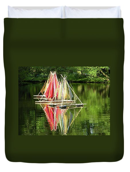 Duvet Cover featuring the photograph Boats Landscape by Manuela Constantin