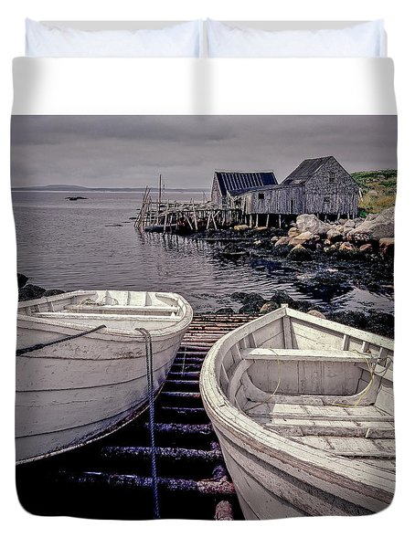 Boats Near Peggys Cove Duvet Cover