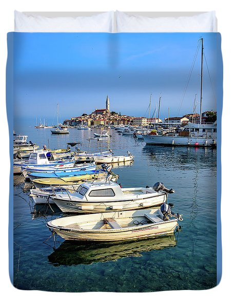 Boats Of The Adriatic, Rovinj, Istria, Croatia  Duvet Cover