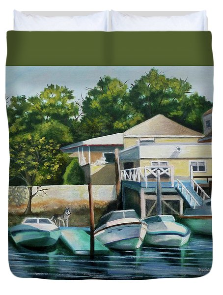 Boats On Crossbay Blvd. Duvet Cover
