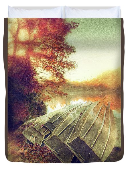 Boats On Price Lake During Autumn Sunrise Ap Duvet Cover by Dan Carmichael
