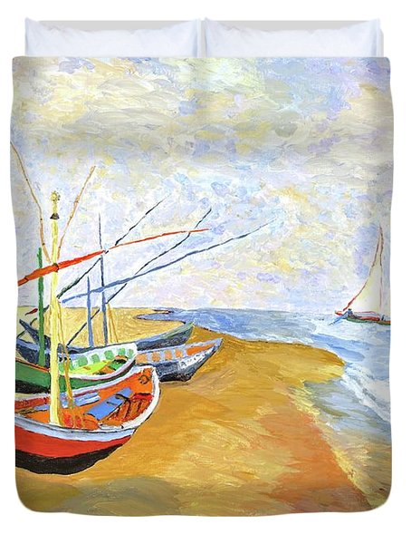 Duvet Cover featuring the painting Boats On The Beach At Saintes-maries After Van Gogh by Rodney Campbell