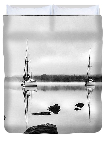 Boats On Ullswater In The Lake District Duvet Cover