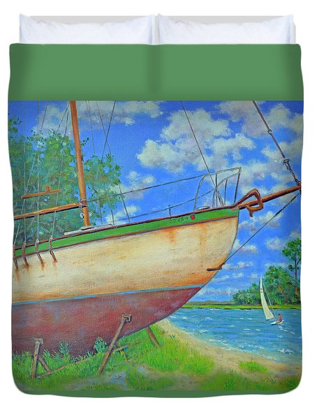 Duvet Cover featuring the painting Boatyard On Shem Creek by Dwain Ray