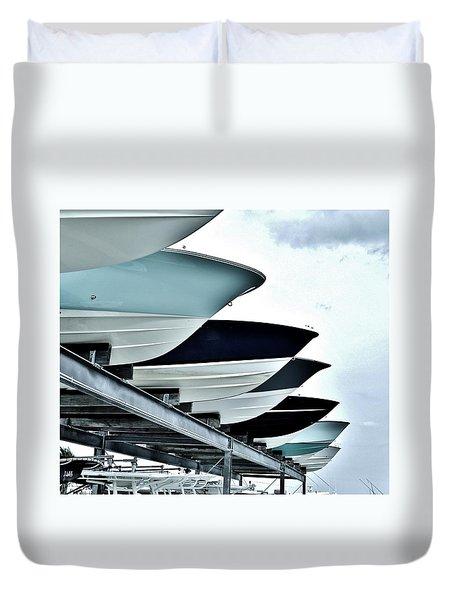 Boatyard, Tiki 52 Duvet Cover by John Wartman