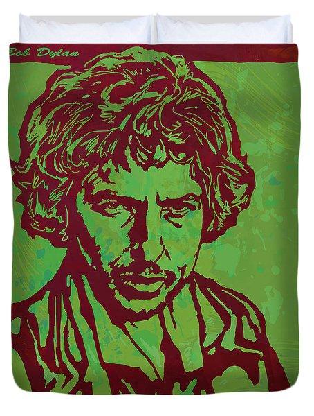 Bob Dylan Pop Art Poser Duvet Cover by Kim Wang