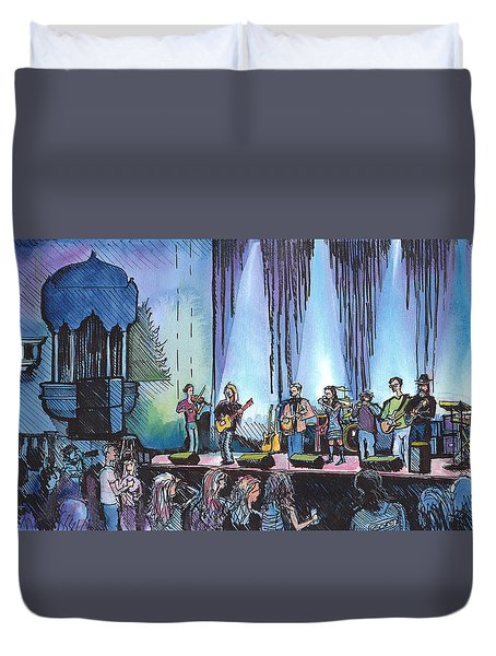 Duvet Cover featuring the painting Bob Dylan Tribute Show by David Sockrider
