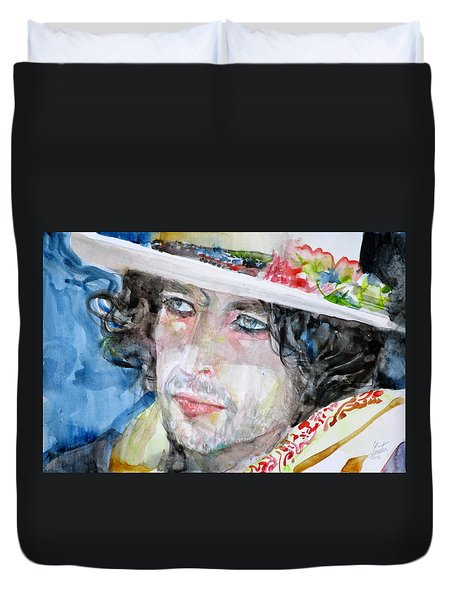 Bob Dylan - Watercolor Portrait.16 Duvet Cover by Fabrizio Cassetta