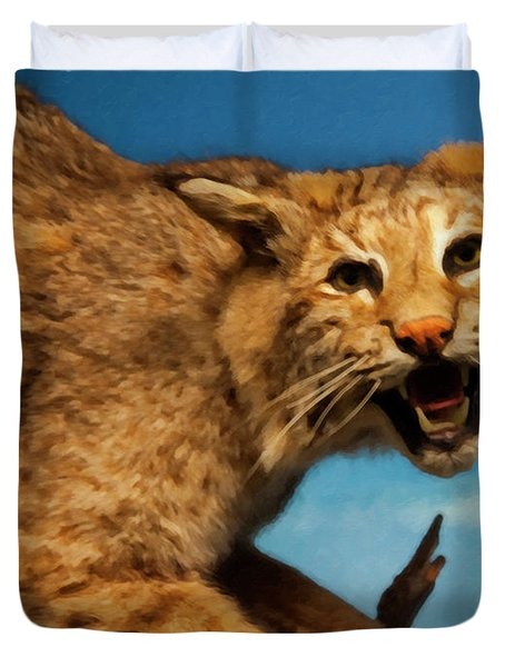 Duvet Cover featuring the digital art Bobcat On A Branch by Chris Flees