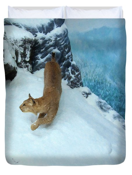 Duvet Cover featuring the digital art Bobcat On A Mountain Ledge by Chris Flees