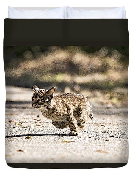 Bobcat On The Run Duvet Cover