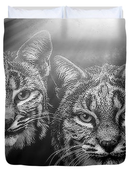 Duvet Cover featuring the mixed media Bobcats by Elaine Malott