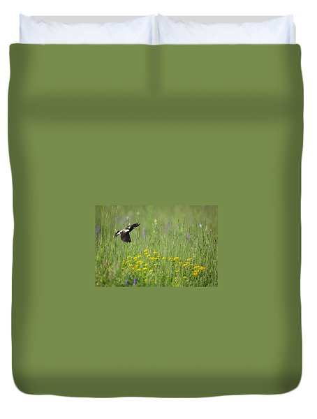 Duvet Cover featuring the photograph Bobolink In Paradise by Bill Wakeley