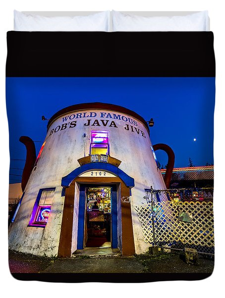 Bob's Java Jive - Historic Landmark During Blue Hour Duvet Cover