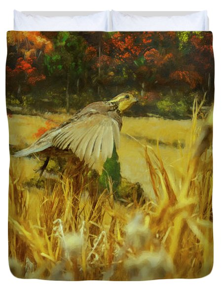 Duvet Cover featuring the digital art Bobwhite In Flight by Chris Flees