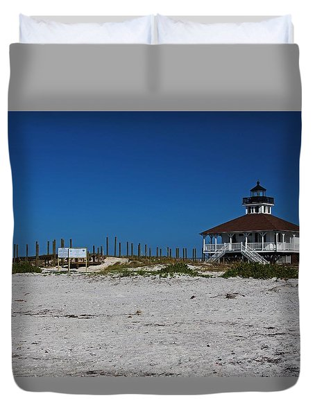 Duvet Cover featuring the photograph Boca Grande Lighthouse Ix by Michiale Schneider